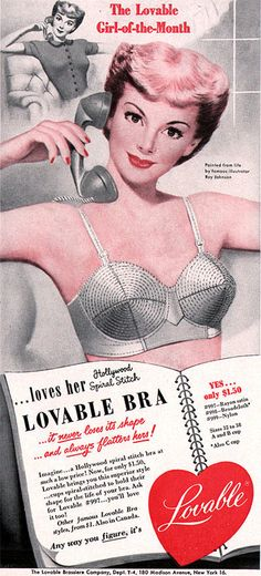 Ray Johnson Lovable Bra - Girl of the Month HOLLYWOOD SPIRAL STITCH BRA 1951 Print Ad