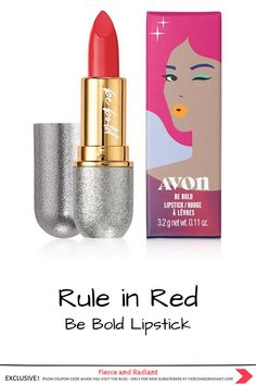 The limited edition Be Bold Lipstick provides gorgeous bold color with a creamy matte finish. Try it in Rule in Red! This lipstick launched with our holiday line, but is no less gorgeous in Summer. Click to learn more! ~ EXCLUSIVE Avon coupon code when you visit the blog ~ Save money with my exclusive discount - only for new subscribers! ~ #redlipstick #avonmakeup