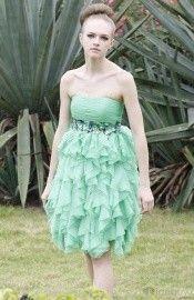 Modest Chiffon Strapless Sleeveless Baby Doll Knee Length Prom Dress-1