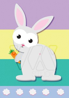 Pin the Tail on the Easter Bunny Children Kids Party by WXSTUDIO
