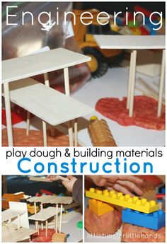 Building Activity & Engineering play dough and loose parts construction play Hands-On Learning Through Play The other day I though I would set out an assortment of materials on our play table to encourage some open-ended free play. I also set out a f Playdough Activities, Steam Activities, Craft Activities For Kids, Science Activities, Preschool Science, Science Diy, Activity Ideas, Toddler Activities, Stem Learning