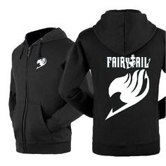 Happy Bag Anime Fairy Tail Lovers Fleece Casual Zipper Hoodie Sweatshirt (M, black)