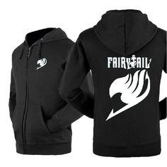 Happy Bag Anime Fairy Tail Lovers Fleece Casual Zipper Hoodie Sweatshirt (M, black)