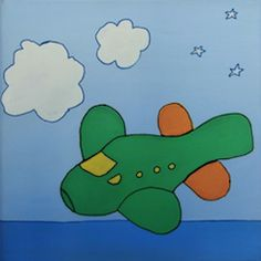"""""""Avión verde"""" // 20 x 20 x 3,5 cm // Gouache (pintura al agua) sobre lienzo // Bastidor pintado (no requiere marco) // Obra original, pintada a mano **55,00 € ** Más información en el tablero """"Mankel: venta y contacto"""""""
