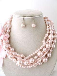 Modern Classic Lite Pink Layered Gradual Pearl Ribbon Deco Jewelry Necklace Set
