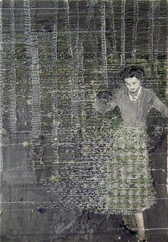 Hinke Schreuders works on paper yarn, felt and ink on paper on canvas Stitching On Paper, Illustration Photo, Atelier D Art, Contemporary Embroidery, Paper Embroidery, Textile Artists, Fabric Art, Oeuvre D'art, Figurative Art