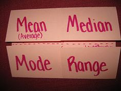 Mean, Median, Mode, and Range Foldable  Lots of good foldables here!