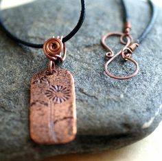 Necklace Etched Copper Rectangle Pendant - Summer Daisies