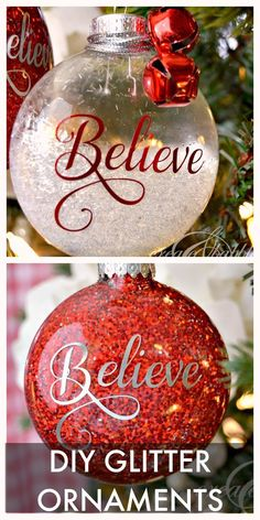 Easy to make glitter Christmas ornaments. Tutorial on createandbabble.com