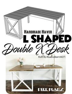 Step By Step How To on building this L Shaped Double X Desk - Quick and Easy build to transform your office space - Free Plans