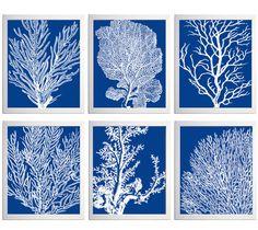 Coral Ocean Beach Sea Prints Royal Blue White by Zeppi Prints, $60.00