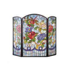 Meyda Tiffany 27234 Dragonfly Flower Folding Fireplace Screen