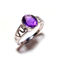 925 Sterling Silver Natural Amethyst gemstone Rings by SimSimSilver on Etsy