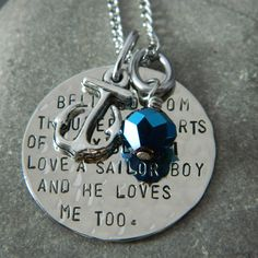 """""""Bell bottom trousers, shirts of navy blue, I love a sailor boy and he loves me too. Word Of Faith, Faith Hope Love, Anchor Necklace, Washer Necklace, Bell Bottom Trousers, Joining The Navy, Navy Life, Images And Words, He Loves Me"""