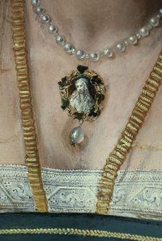 Portrait of a Lady, detail. Pieter de Kempeneer  (ca. 1527 - 37)