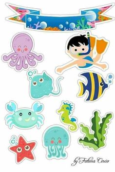 Under The Sea Theme, Under The Sea Party, Decoration Creche, Cupcake Toppers Free, Sea Cakes, Animal Cupcakes, Baby Shark, Baby Party, Baby Birthday