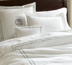 Pearl Embroidered 280-Thread-Count Duvet Cover & Shams   Pottery Barn- almost my monogram- CEM :)