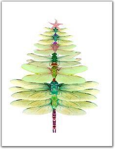 Tarjetas de árbol de libélula. Tarjeta de solsticio de invierno, 10 por vacaciones caja tarjeta regalo set, arbolado. verde, dragonfy,