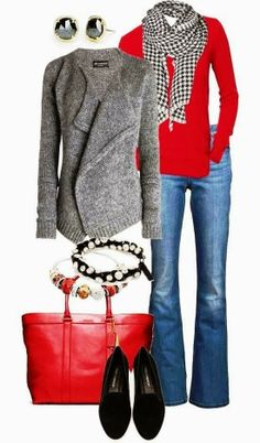 Attractive grey cardigan with red sweater and handbag