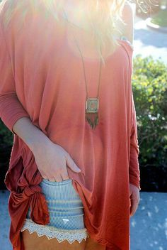 denim and lace with pretty over sized tee and necklace