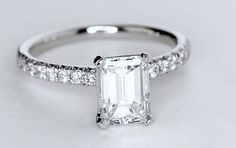 1.26ct Emerald cut diamond Engagement Ring GIA certified G-VS2 18kt White Gold SOLAR DIAMONDS on Etsy