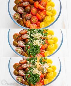 Marinated cherry tomatoes are a colorful, juicy and tasty side dish that is perfect for summer parties, buffets and large gatherings because it can be made hours in advance. This is one of our favorite cherry tomato recipes! Italian marinated tomatoes with just 4 ingredients! | natashaskitchen.com Marinated Cherry Tomatoes Recipe, Cherry Tomato Recipes, Cherry Tomato Salad, Avocado Tomato Salad, Marinated Vegetables, Canning Vegetables, Side Recipes, Vegetable Recipes, Healthy Recipes