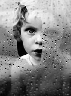 black white water drops child portrait