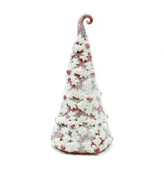 Red Heart Tree with Snowflakes Polymer Clay Winter Figurine