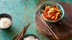 Korean-style stir-fried squid | A popular dish in Korea - known as ojingeo bokkeum - this vibrant and spicy stir-fry recipederives its heat from Korean chilli powder known as kochugaru. Adjust the chilli to suit your own taste.