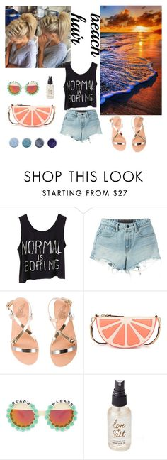 """""""beach hair"""" by momomoking ❤ liked on Polyvore featuring beauty, T By Alexander Wang, Ancient Greek Sandals, Kate Spade, Rad+Refined, Olivine, Terre Mère and beachhair"""
