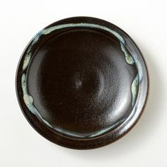 龍門司焼 黒釉青流し 6.5寸皿
