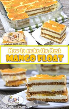 Mango Float Recipe is easy to make and very delicious Filipino dessert, a big hit during Christmas and New Year celebration. Mango float are my family's favorite dessert and the ingredients are not expensive. Mango Dessert Recipes, Mango Recipes, Asian Desserts, No Cook Desserts, Easy Desserts, Sweet Recipes, Delicious Desserts, Chinese Desserts, Cuban Recipes