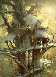 Treehouse by Marco Bucci  Once again, the light and its colours are stunning. Some brush strokes purposefully blunt, some areas very detailed. Love the sun glare effect.