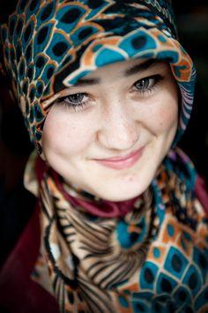 Picture of a beautiful young girl wearing a hijab in Tajikistan #smile