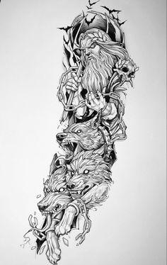 Viking Tattoo Sleeve, Egyptian Tattoo Sleeve, Skull Sleeve Tattoos, Wolf Tattoo Sleeve, Full Sleeve Tattoo Design, Norse Tattoo, Wolf Tattoo Design, Tattoo Design Drawings, Viking Tattoos