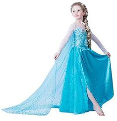 f40ab321d02a5 2017 New Girls Dress Summer Princess Party Dress Cartoon Children Cosplay  Dress Girls Long Elsa Dress Snow Queen Fancy Costumes