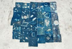 cyanotype fabric with photo negatives - Thomas Pallas