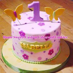 Girly first birthday cake — Children's Birthday Cakes