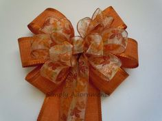 Fall Orange Wedding Bow Maple Leaves Pew Bow by SimplyAdornmentsss