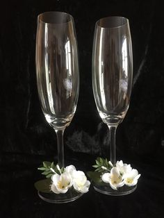 Wedding toasting flutes, champagne glasses , wedding gift, bridal shower and engagement gift Wedding Toasting Glasses, Wedding Champagne Flutes, Toasting Flutes, Champagne Glasses, Crystal Champagne, Wedding Cups, Wedding Toasts, Wedding Gifts, Bride And Groom Glasses