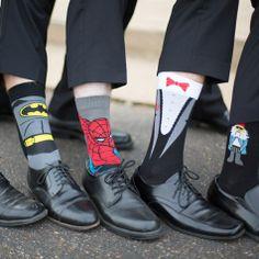 Superhero Groomsmen Socks | Craig Hodge Photography | Theknot.com