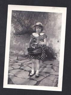Antique Photograph Adorable Little Girl All Dressed Up Holding Easter Basket