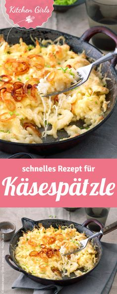 Recipe for cheese spaetzle – quick recipes for the end of the day. Soulfoud Recipe for cheese spaetzle – quick recipes for the end of the day. Quick Recipes, Pasta Recipes, Cooking Recipes, Cheese Spaetzle Recipe, Cheese Noodles, Pasta Cheese, Vegetarian Recipes, Healthy Recipes, Vegetarian Diets