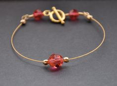 Pink Crystal Bracelet Gold Dainty Jewelry by GueGueCreations, $34.00