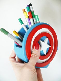 Captain America Super Hero Desk Organizer Gift Captain America Holder Captain America Organizer Gift Wood Gift for boy This hand crafted pen holder will add style to your desk, while being functional…More 5 7 0 7 7 Hero Crafts, Diy And Crafts, Arts And Crafts, Crafts Cheap, Pencil Holder, Pen Holders, Woodworking Shop, Woodworking Projects, Pot A Crayon