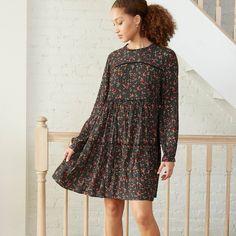 Women's Floral Print Long Sleeve Babydoll Dress - Knox RoseTM