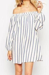 Boat Neck Vertical Striped Dress