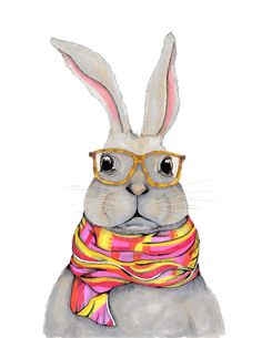 Hipster bunny, nerdy bunny, tortoiseshell glasses, colorblock scarf, bunny art, Hermes scarf