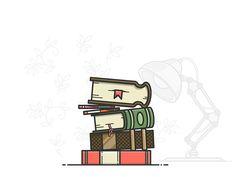 Stack of books by Alexander Kunchevsky #Design Popular #Dribbble #shots