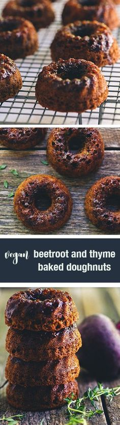 These vegan beetroot and thyme baked donuts are a revelation. Wonderful sticky sweet donuts with the goodness of beetroot and a hint of thyme.